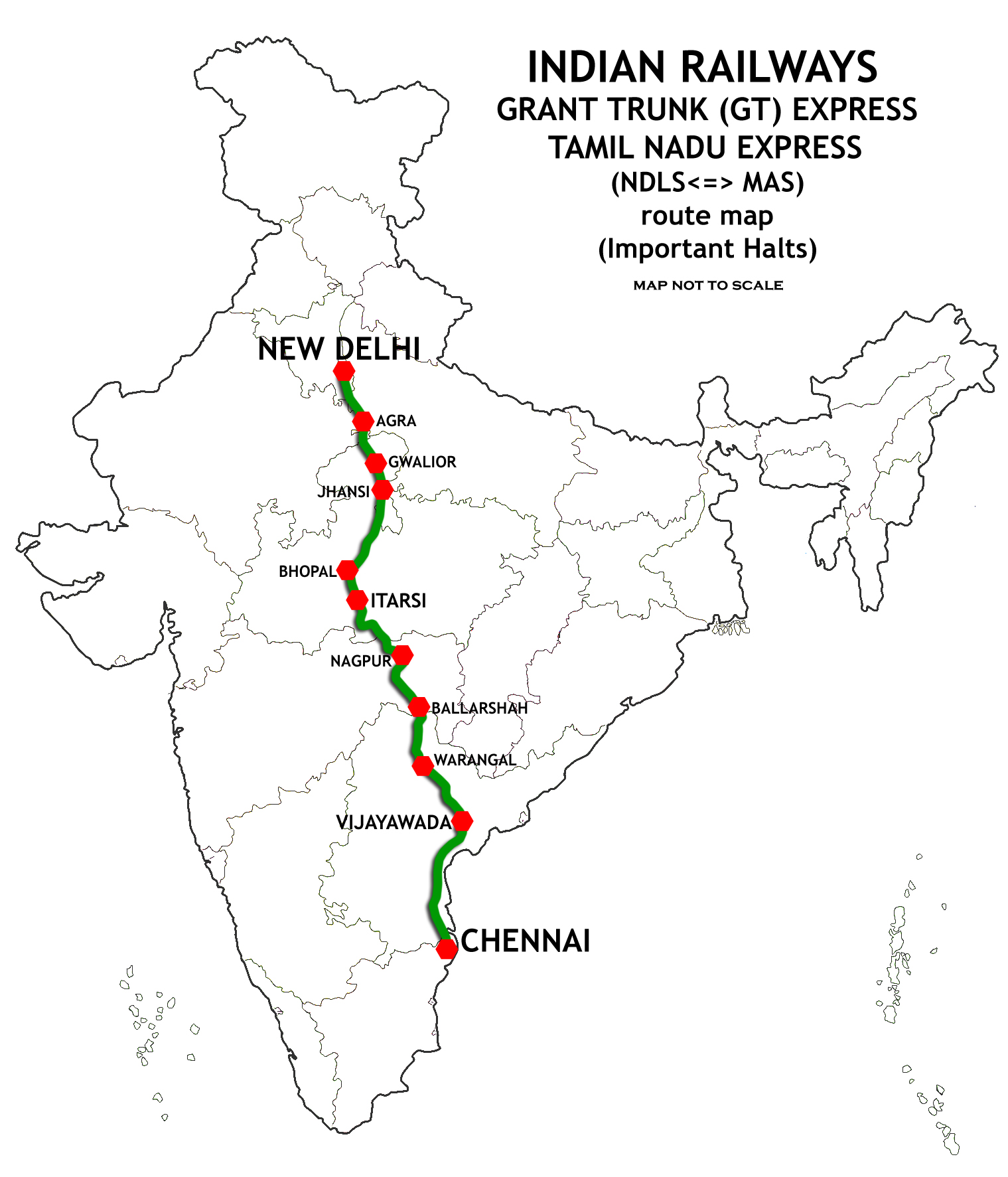 New Delhi–Chennai main line - Wikipedia on indian railway food, indian railways logo, indian railway network, indian railway enquiry, auto train route map, indian rail route, us train routes map, indian railway fare table, indian railway ticket availability, pakistan railway track map, indian railways seat availability, transcontinental railroad route map, indian railway schedule, european train route map, indian railway reservation, india railway map, indian railway timetable, indian railway stations, mt. shasta route map, ferdinand magellan's route map,