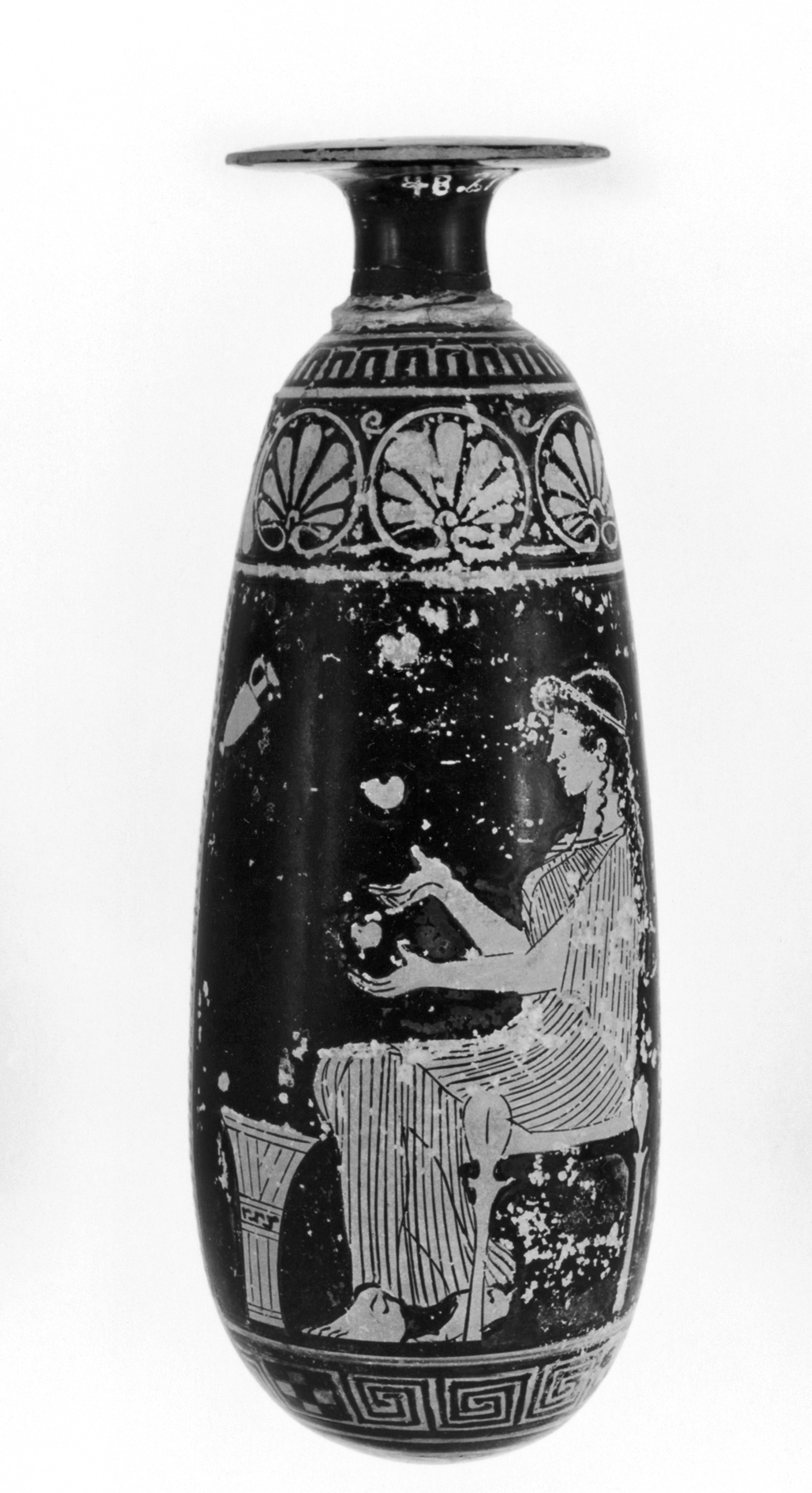 File Greek Alabastron Depcting A Seated Woman And A