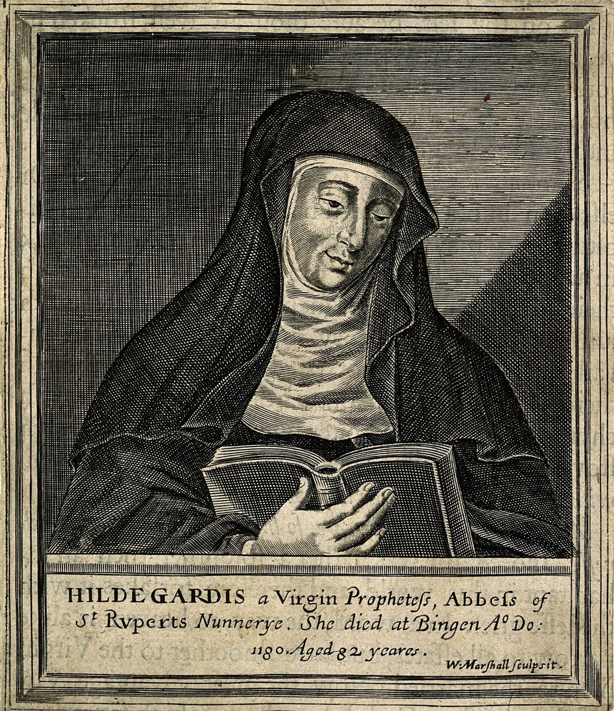 Hildegard von Bingen, 12th century German polymathic abbess woodblock print