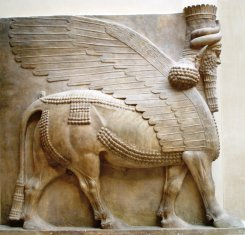 Human-headed winged bull Khorsabad profile - Louvre 01a.jpg