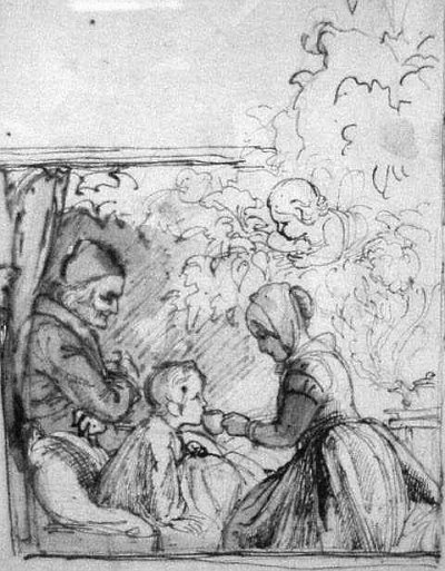 An image from a Hans Christian Andersen story about the Elder Mother.