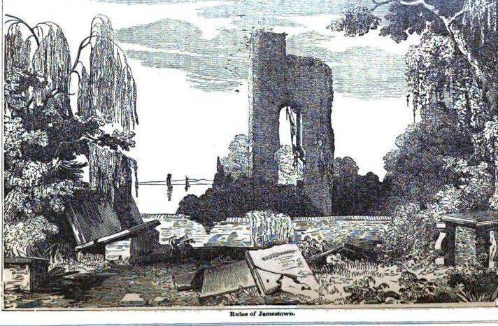 1854 image of the ruins of Jamestown showing the tower of the old Jamestown Church built in the 17th century