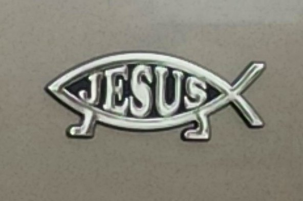 File jesus fish variation promoting evolutionary creation for Fish symbol on cars
