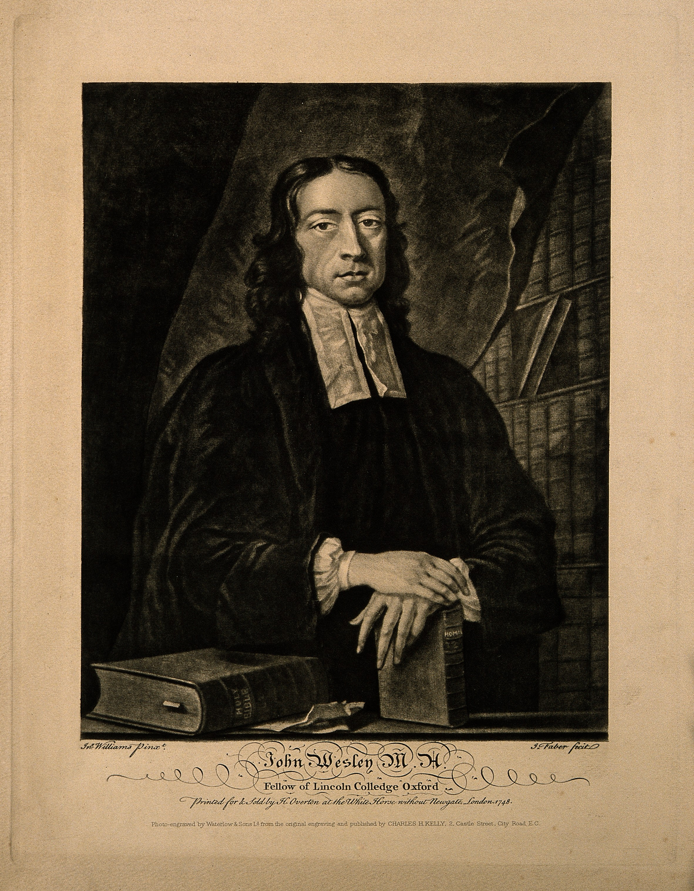File:John Wesley. Reproduction of mezzotint by J. Faber, junior ...