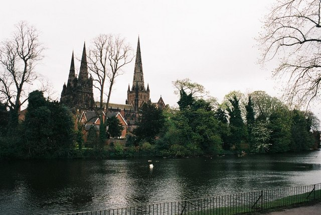Lichfield, lake and cathedral - geograph.org.uk - 499188