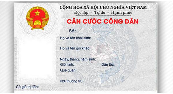 Mặt trước Thẻ Căn cước Công dân