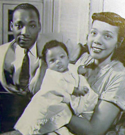 Martin Luther, Coretta Scott and Yolanda Denise King, 1956