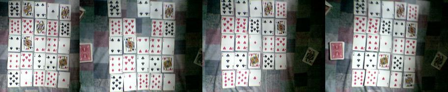 A game of Monte Carlo. From left, layout at the start of the game, and layout after pairs are removed, consolidation of cards, addition of new cards.