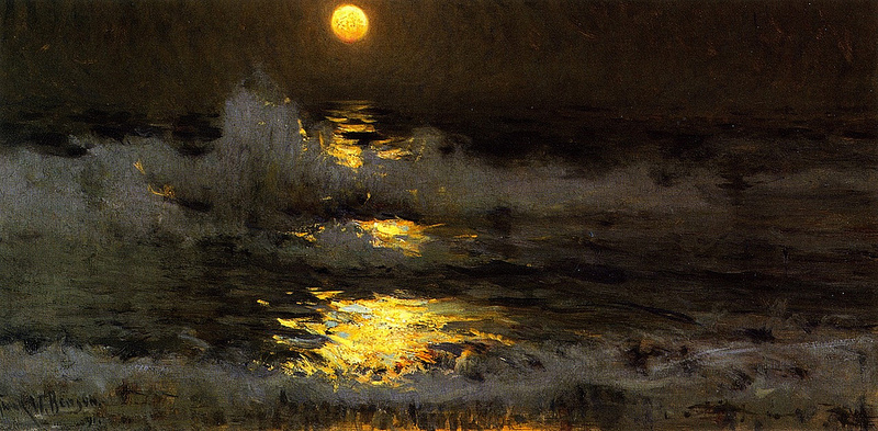 Moonlight--Moonlight on the Waters oil 1981 Frank Weston Benson