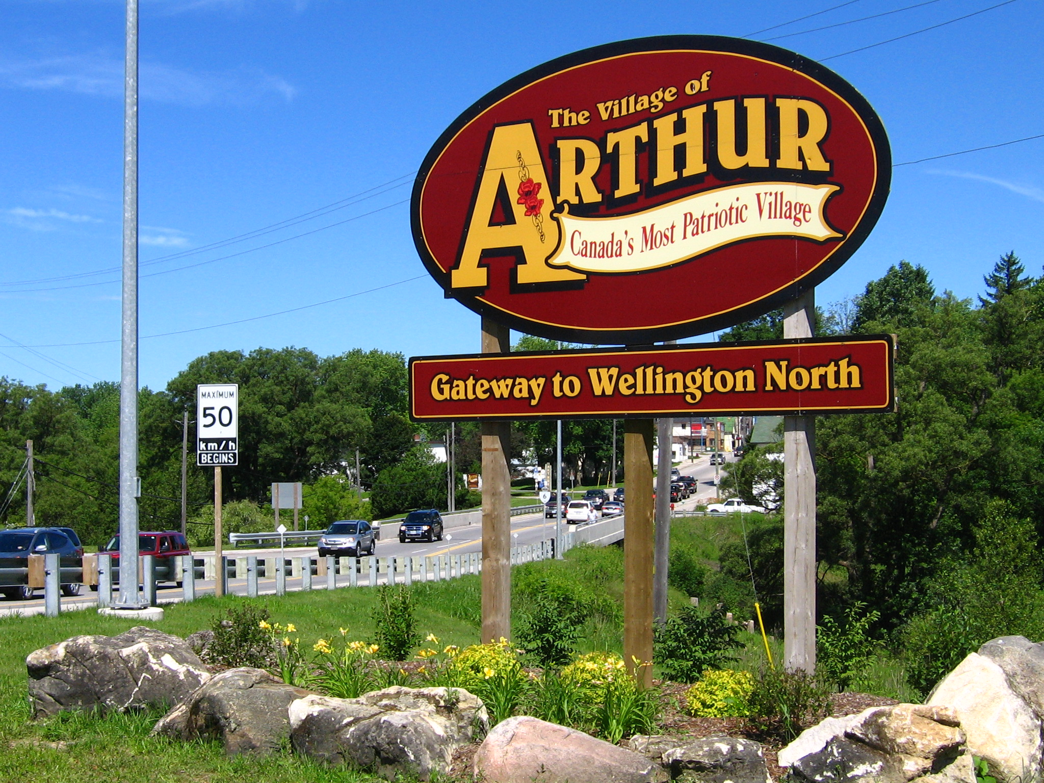 The Village of Arthur Sign at the Intersection of Hwy 6 and Wellington Road 109.