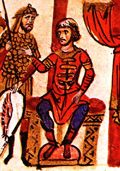 Khan Omurtag was the first Bulgarian ruler known to have claimed divine origin, Madrid Skylitzes Omurtag1.jpg