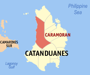 Map of Catanduanes showing the location of Caramoran
