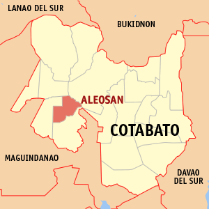 Map of Cotabato showing the location of Aleosan