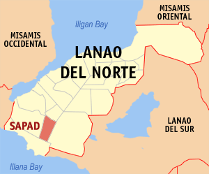 Map of Lanao del Norte showing the location of Sapad