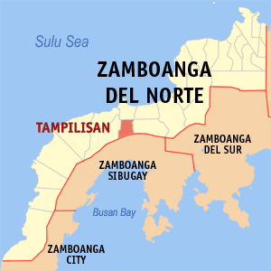 Map of Zamboanga del Norte showing the location of Tampilisan