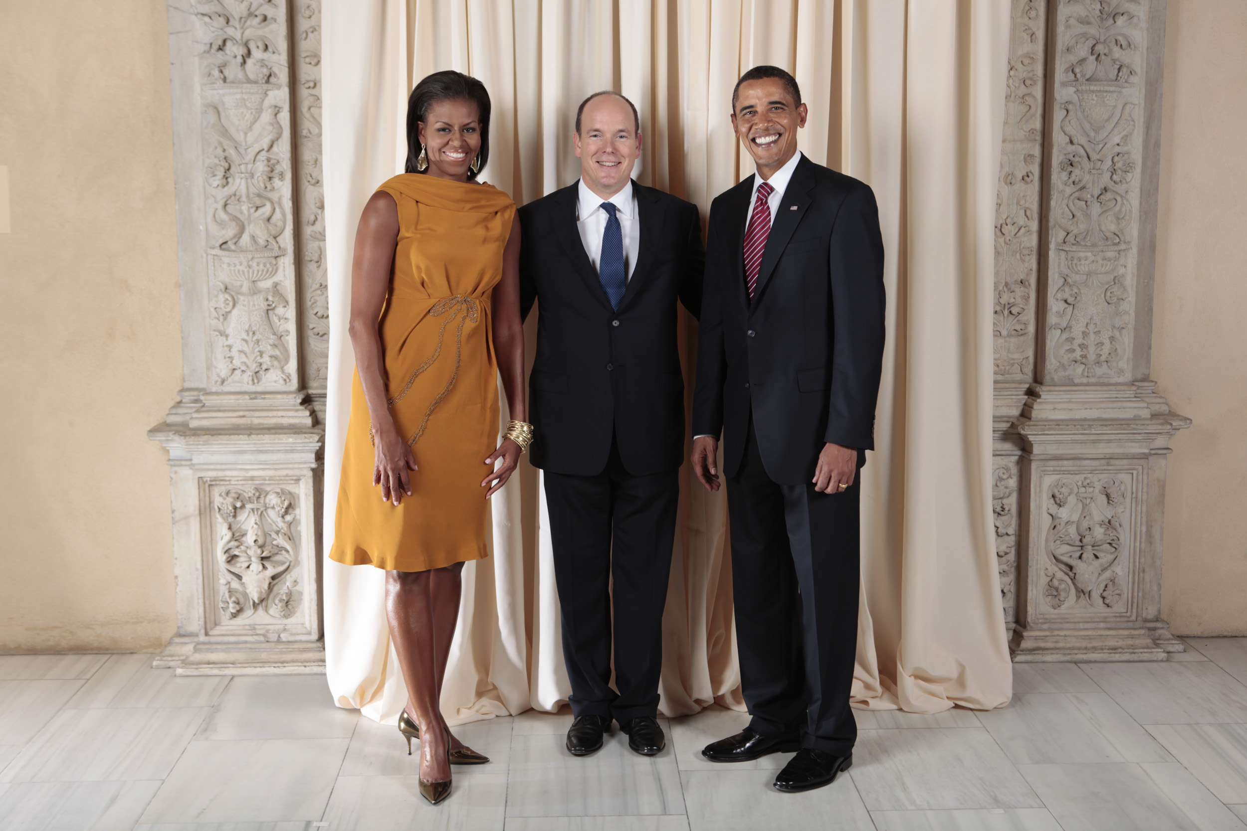 De risa lo de este chico Prince_Albert_II_with_Obamas
