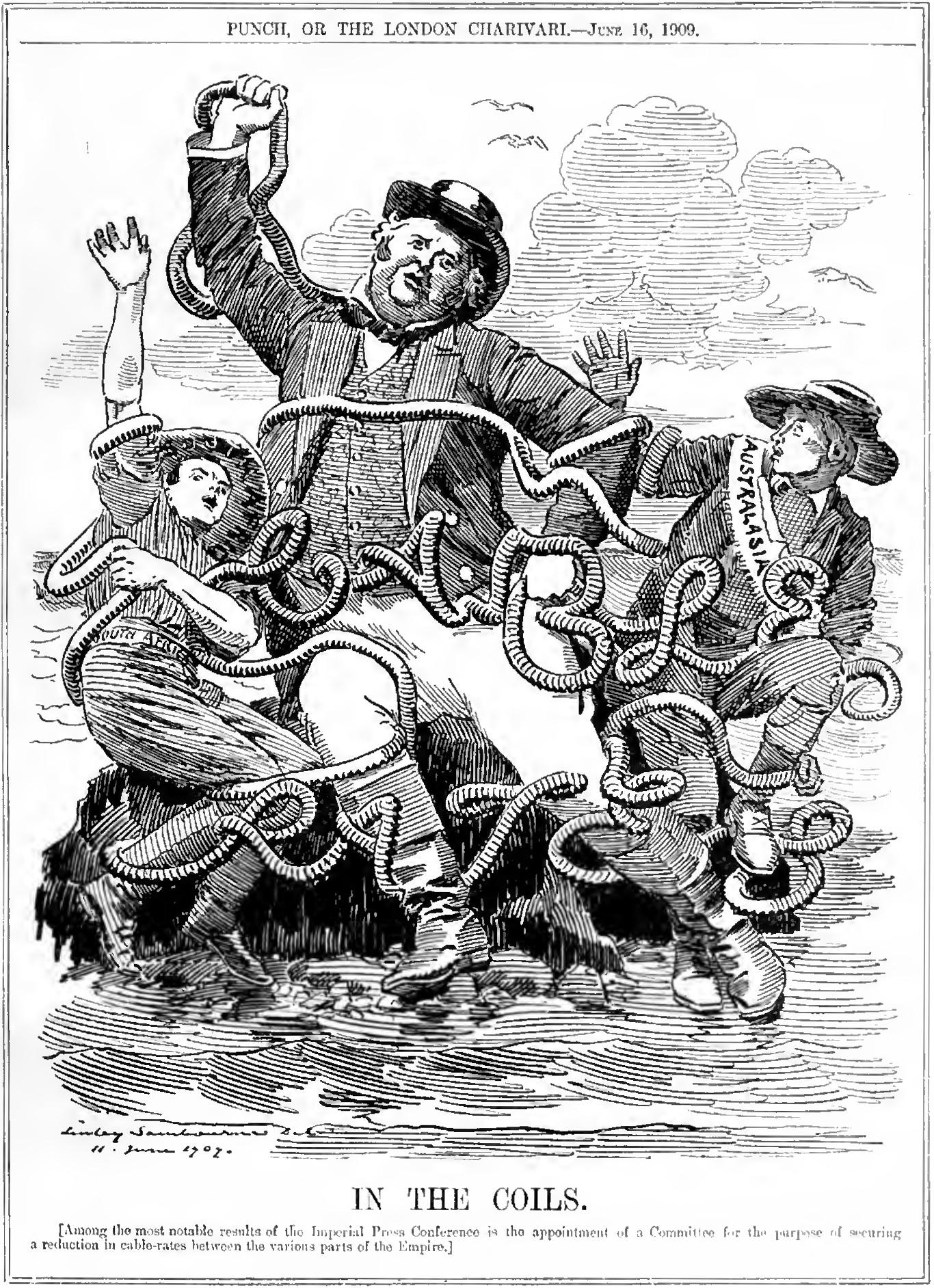 John Bull, In the Coils (Punch 1909)
