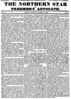 "A newspaper front page with ""The Northern Star and Freemen's Advocate"" as the headline over three columns of text"