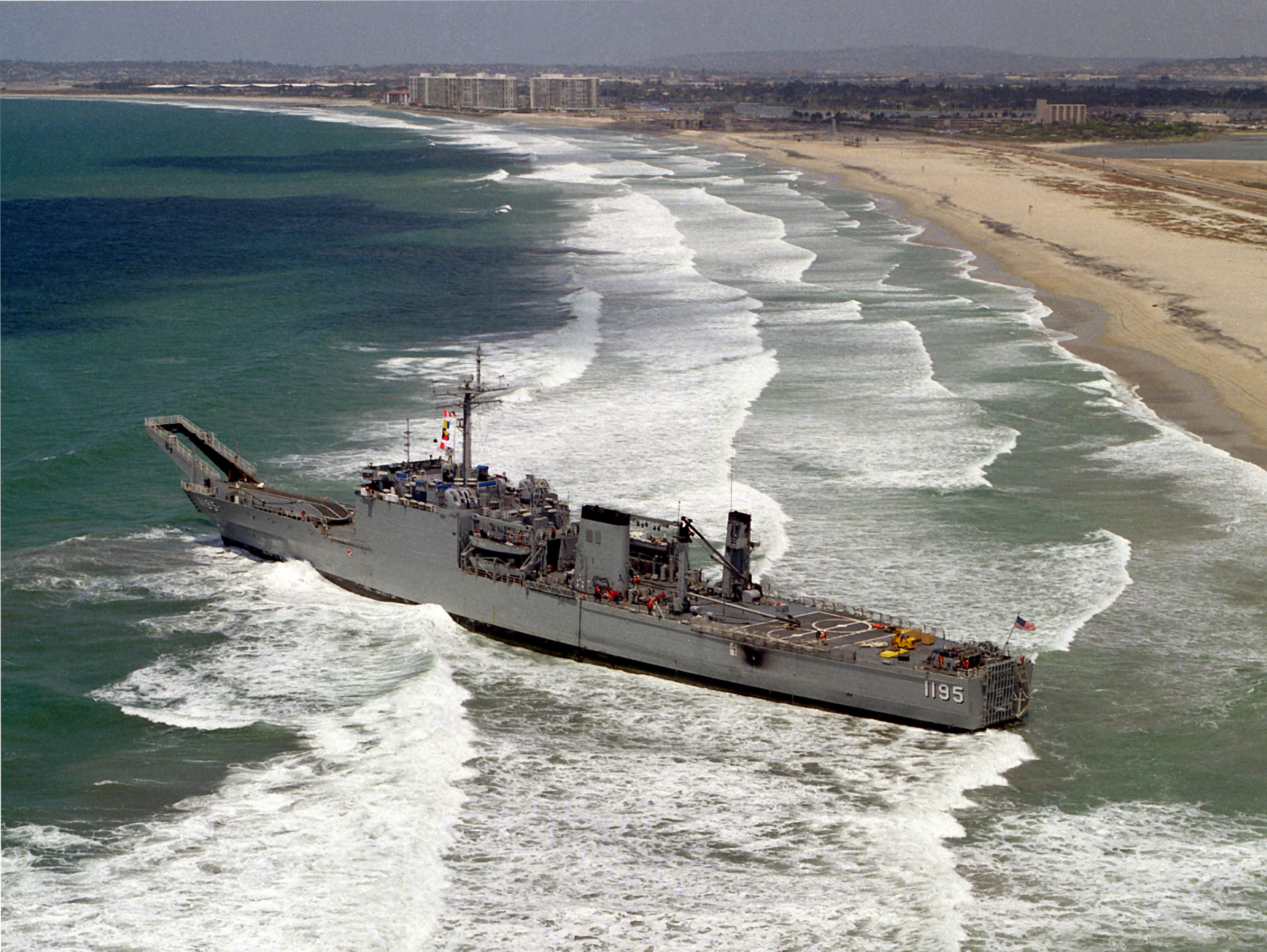 File:USS Barbour County (LST-1195) aground on Silver Strand 1984.