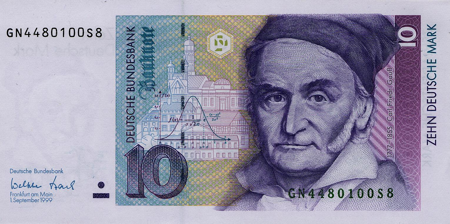 Featured image: German banknote featuring Gauss