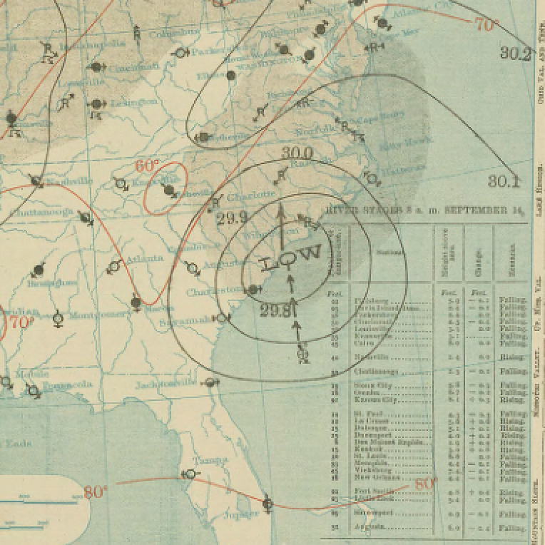 File 1904 Hurricane Two September 14 surface weather map