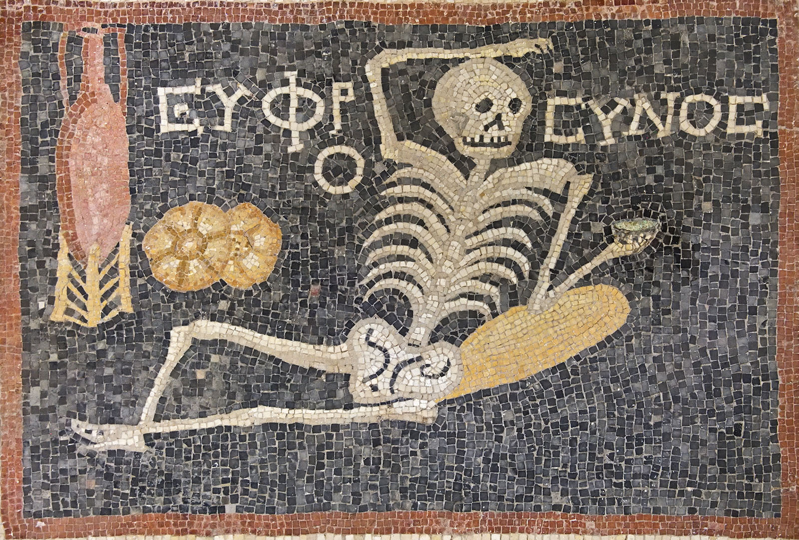 The relaxed skeleton mosaic from Antioch, found in Turkey.