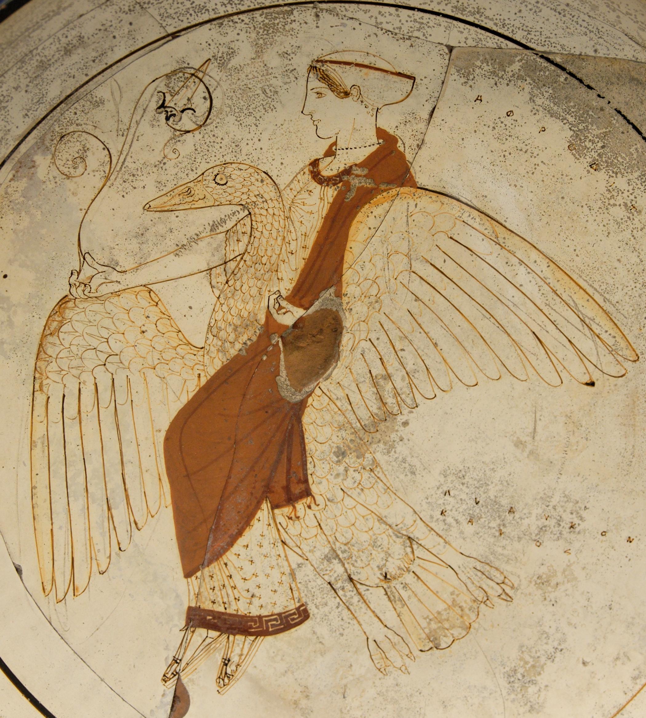 Afrodite Aφροδίτη a cavallo di un cigno tomba F43 Kameiros Rodi Il cigno animale sacro alla Dea e pagno di Apollo nella tradizione religiosa greca