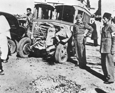 Arab autobus after an attack by Irgun, 29 December 1947 - History of Palestine