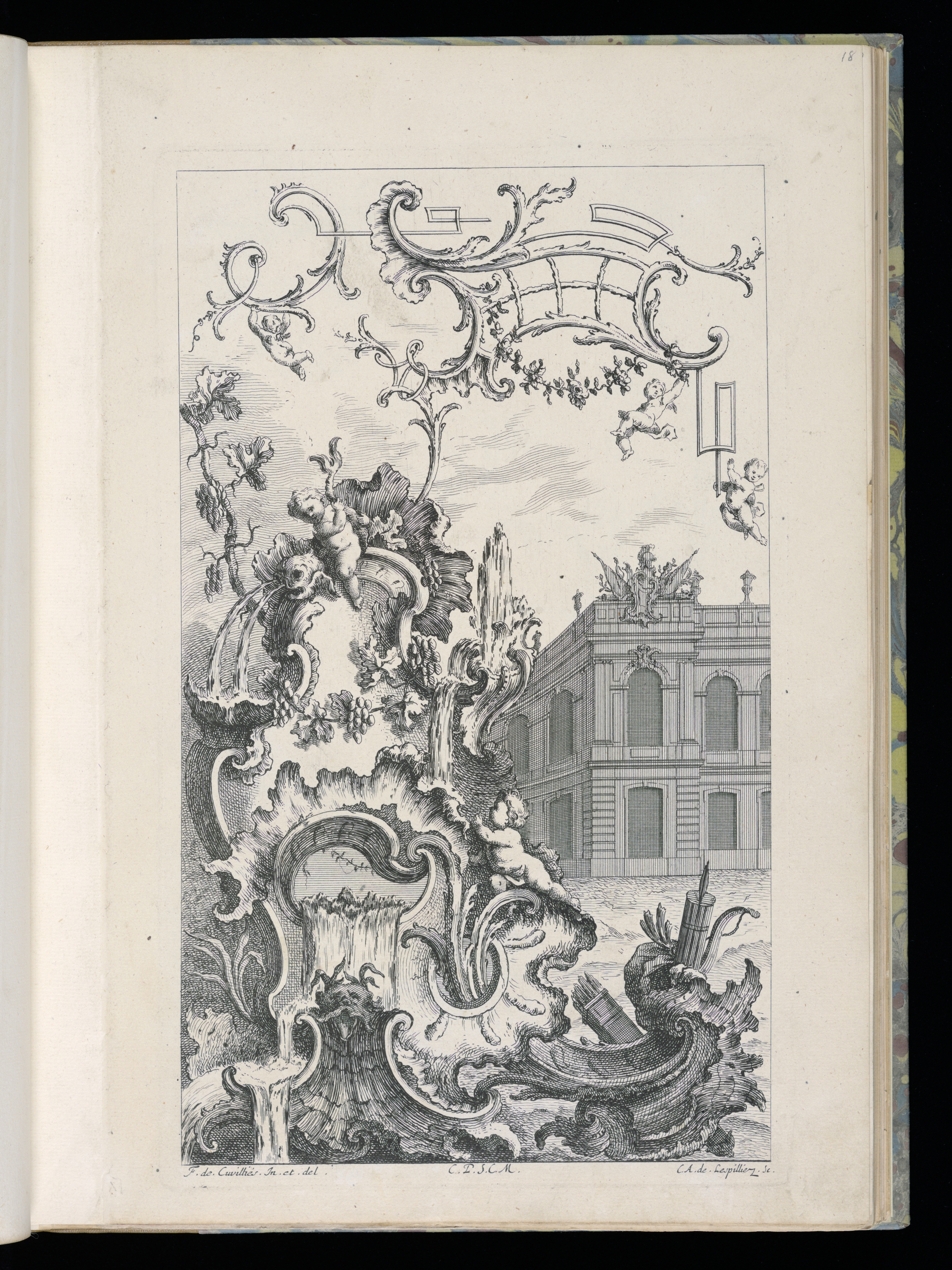 File Bound Print Cartouche With Fountain And Building