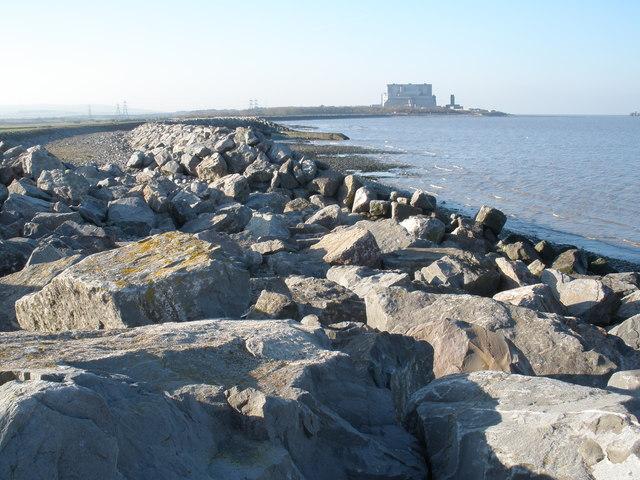 File:Coastal defences, west of Stolford - geograph.org.uk - 1105586.jpg
