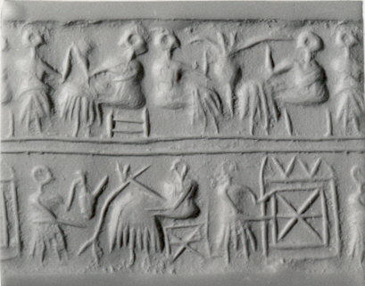 Cylinder seal and modern impression- banquet scene with seated figures drinking a liquid through straws MET ss56 157 1