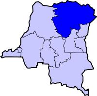 Localisation de l'Orientale (en bleu foncé) à l'intérieur de la République démocratique du Congo