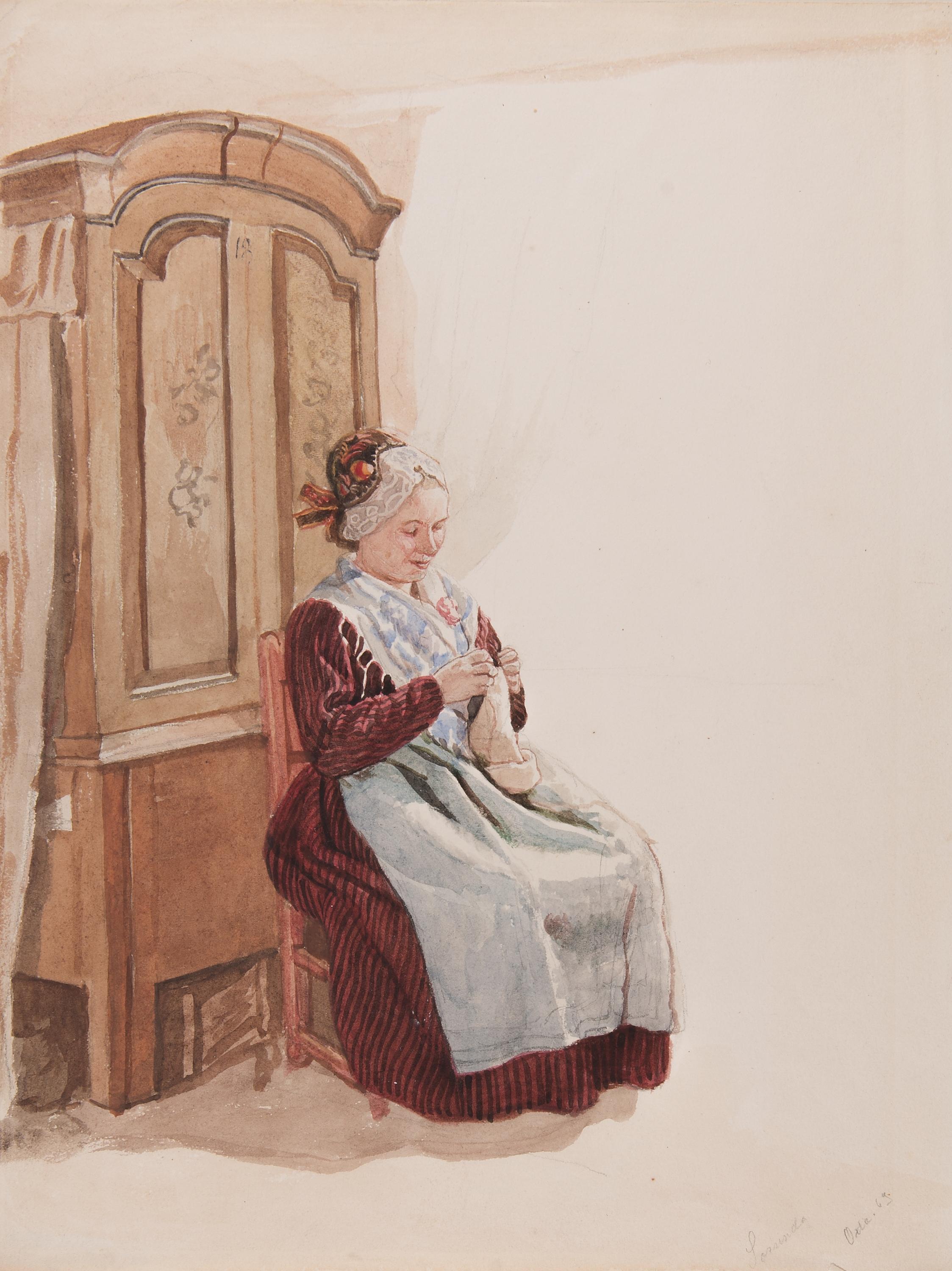 ny hög utlopp se upp för File:Dräkt. Handarbetande kvinna i helfigur sittande framför ett ...