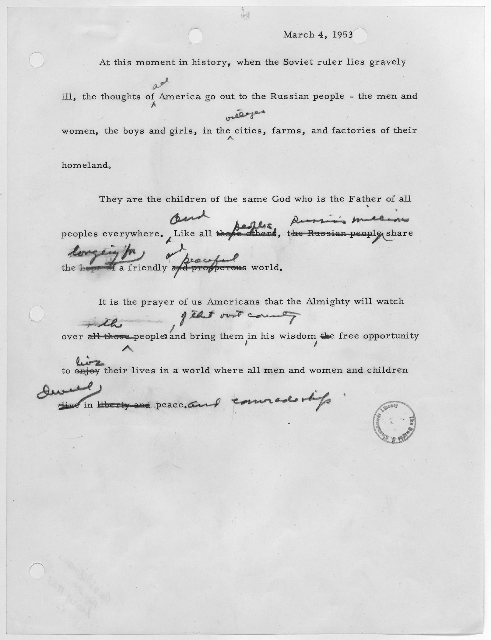 File Draft Statement By President Eisenhower On Joseph Stalin NARA