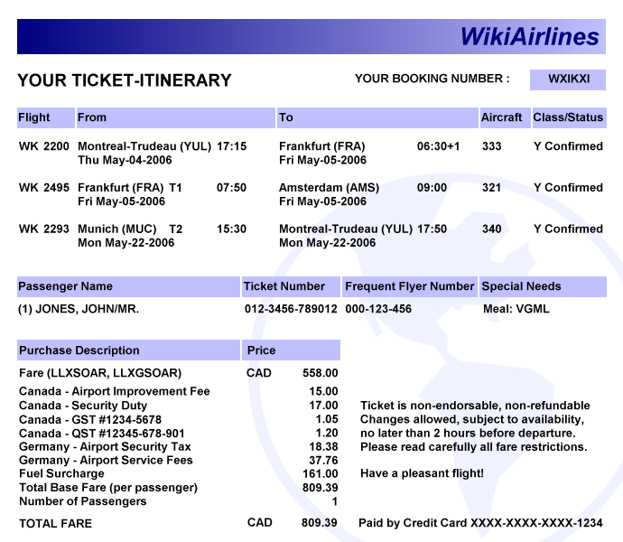Electronic ticket Wikipedia – E Ticket Template