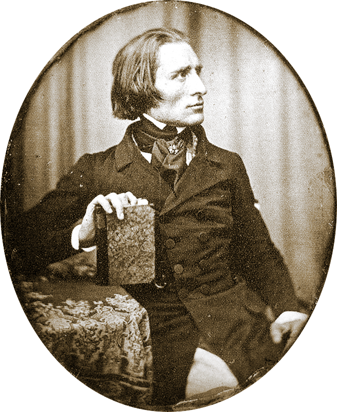 """Franz Liszt by Herman Biow- 1843"" by Herman Biow - pianoinstituut.nl. Licensed under Public Domain via Commons."