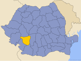 Administrative map of Руминия with Горж county highlighted