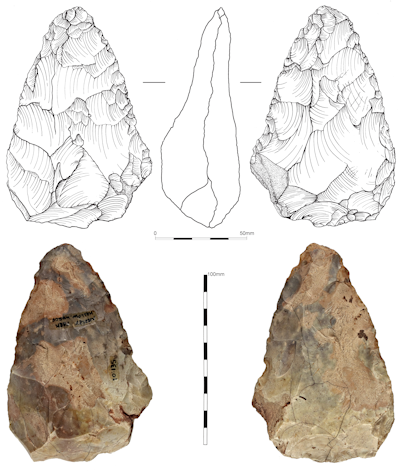 The hand axe discovered in the 1970s in Hallow. Potentially the first Early Middle Palaeolithic artefact from the West Midlands.