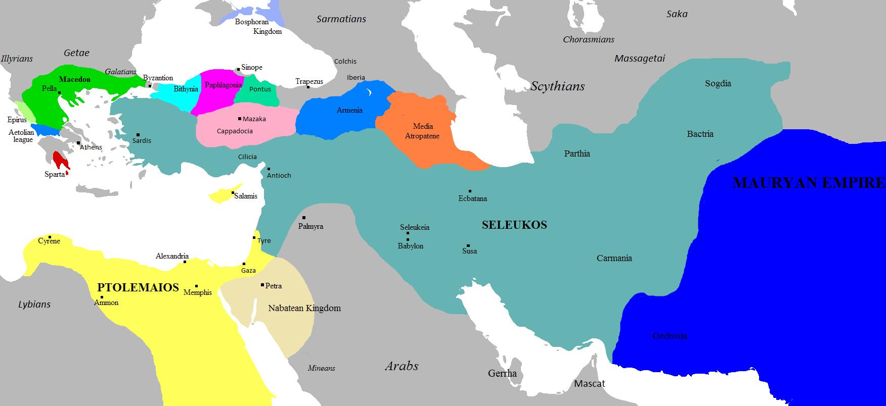 File Hellenistic world 281 B C Wikimedia mons