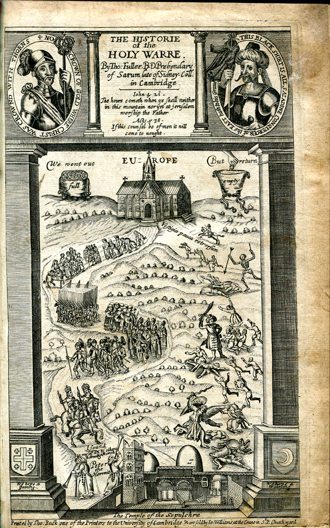 Engraved title page of the third edition of ''Historie of the Holy Warre'' by Thomas Fuller, 1647