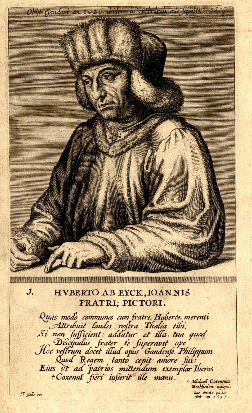 Woodcut portrait of Hubert van Eyck, by Edme de Boulonois, mid-16th century.