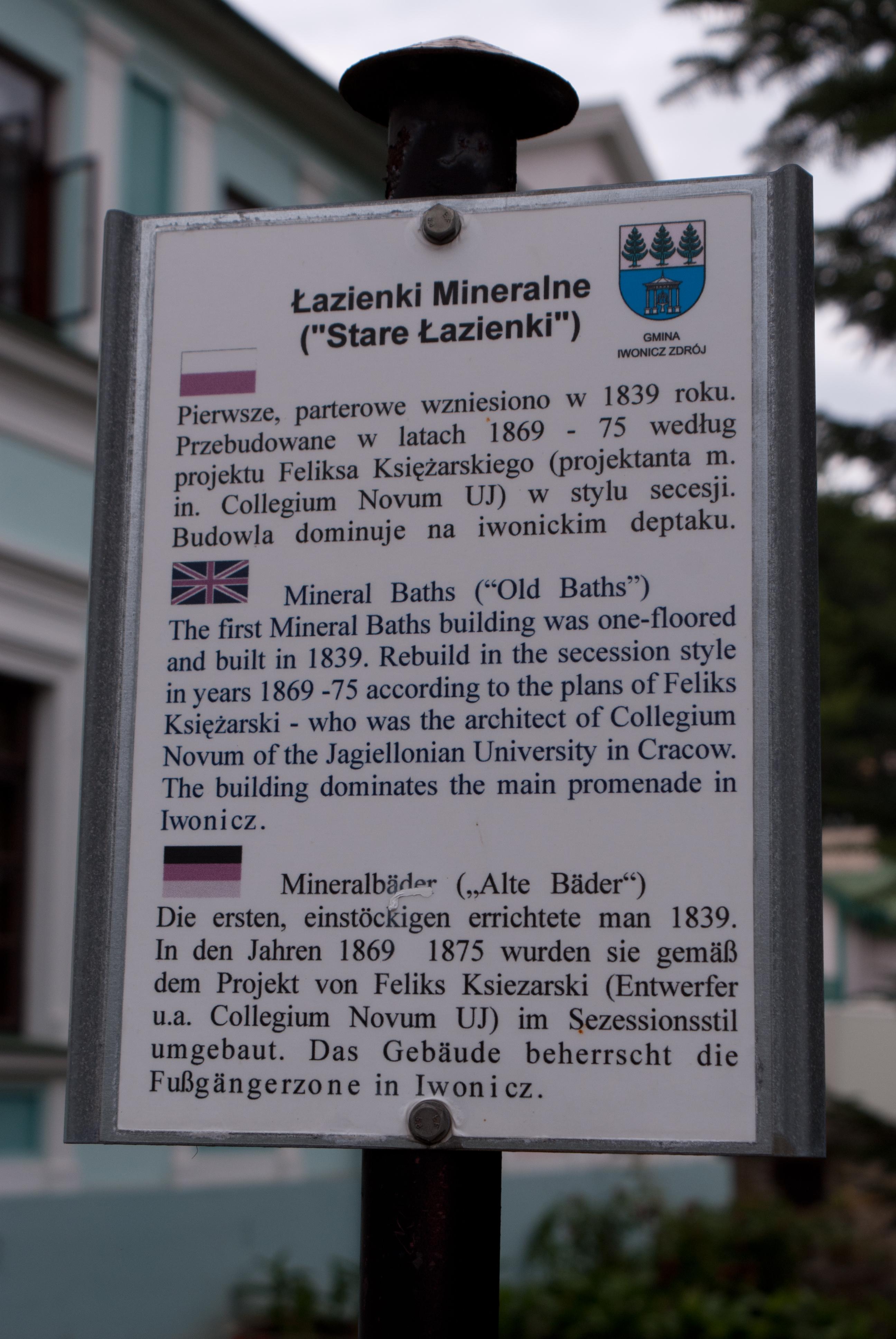 Fileiwonicz Zdrój Stare łazienki Tablicajpg Wikimedia