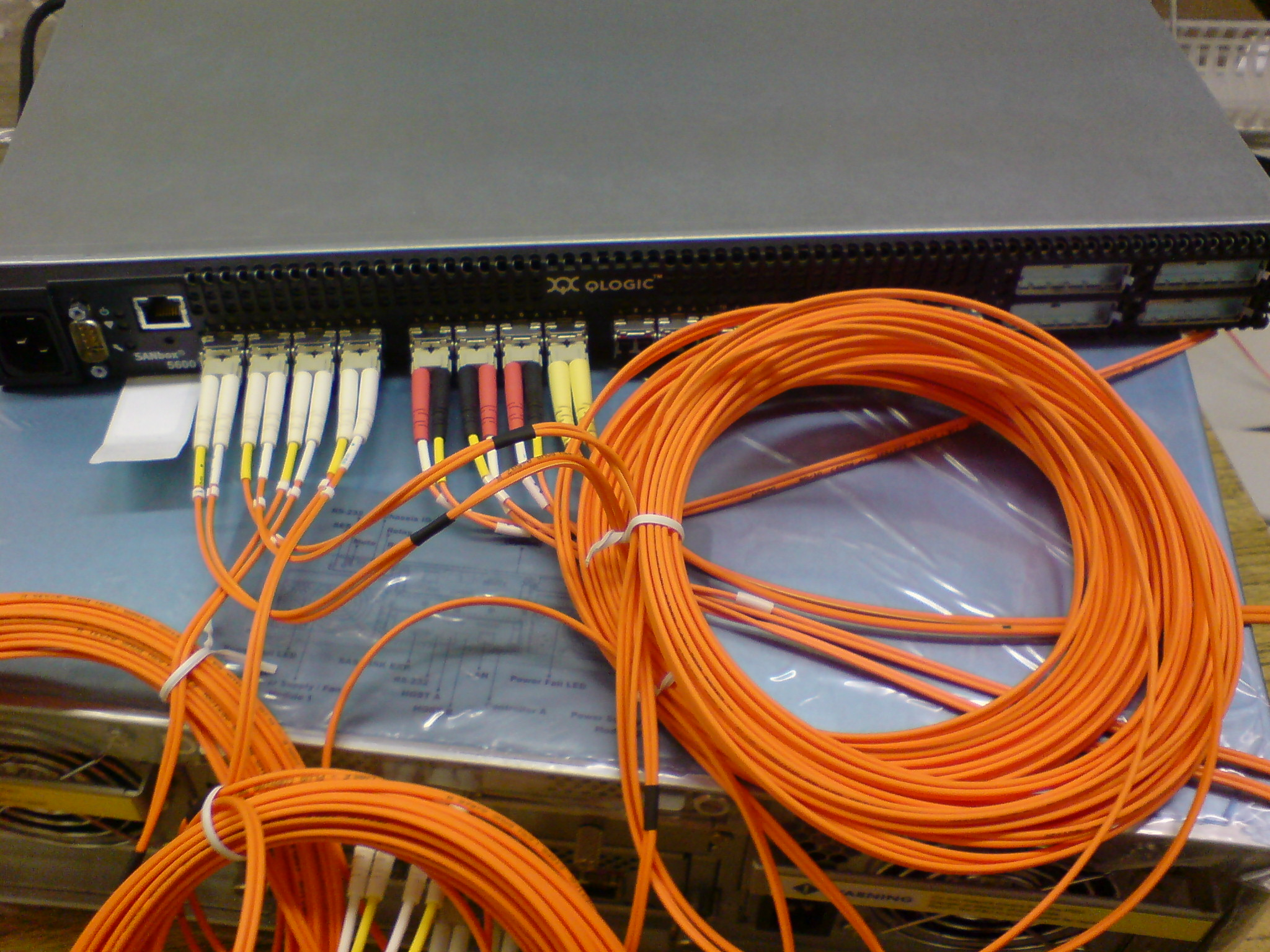 SAN-switch Qlogic with optical Fibre Channel connectors installed.