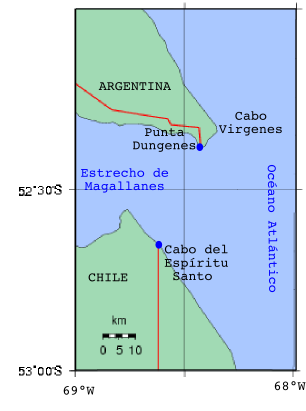 Espíritu Santo Cape at the eastern end of the Strait of Magellan