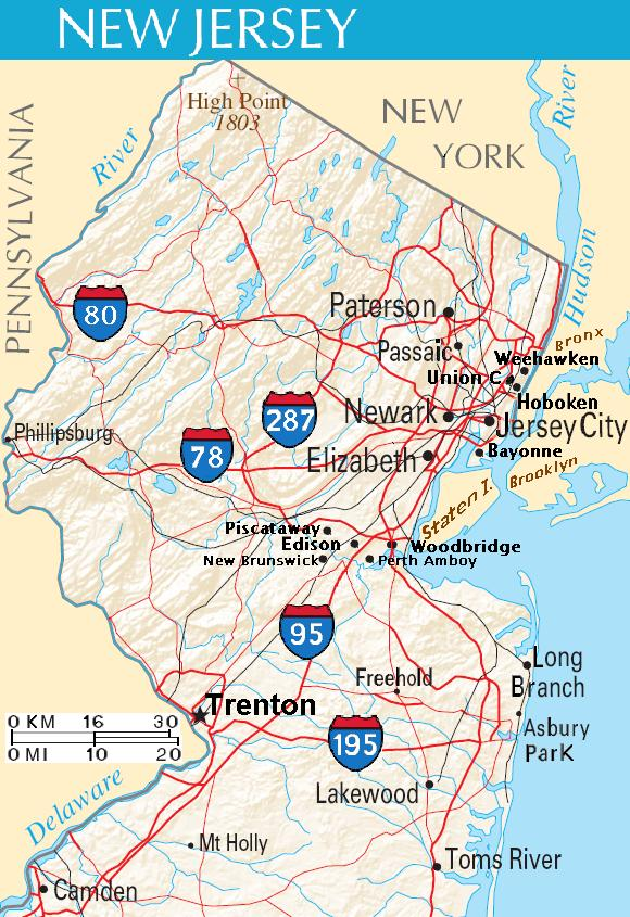 Map Of New Jersey New Jersey Maps  Mapsof
