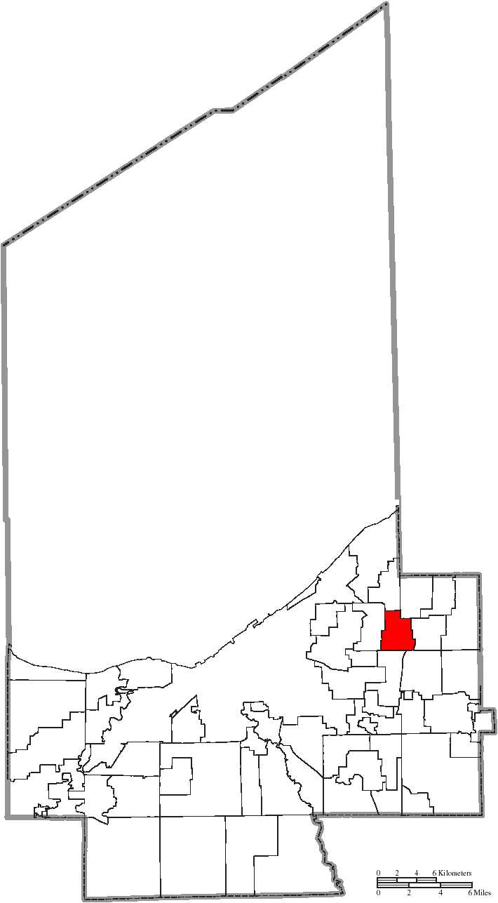 File Map of Cuyahoga County Ohio Highlighting Lyndhurst City