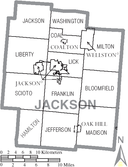 File Map of Jackson County Ohio With Municipal and Township Labels