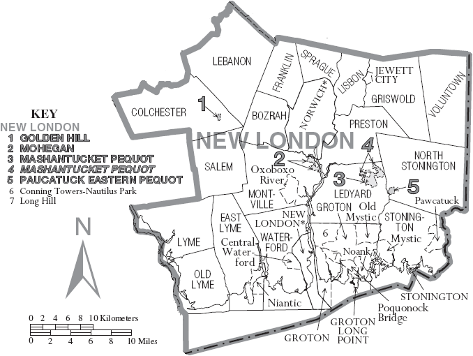 File Map of New London County Connecticut With Municipal Labels PNG