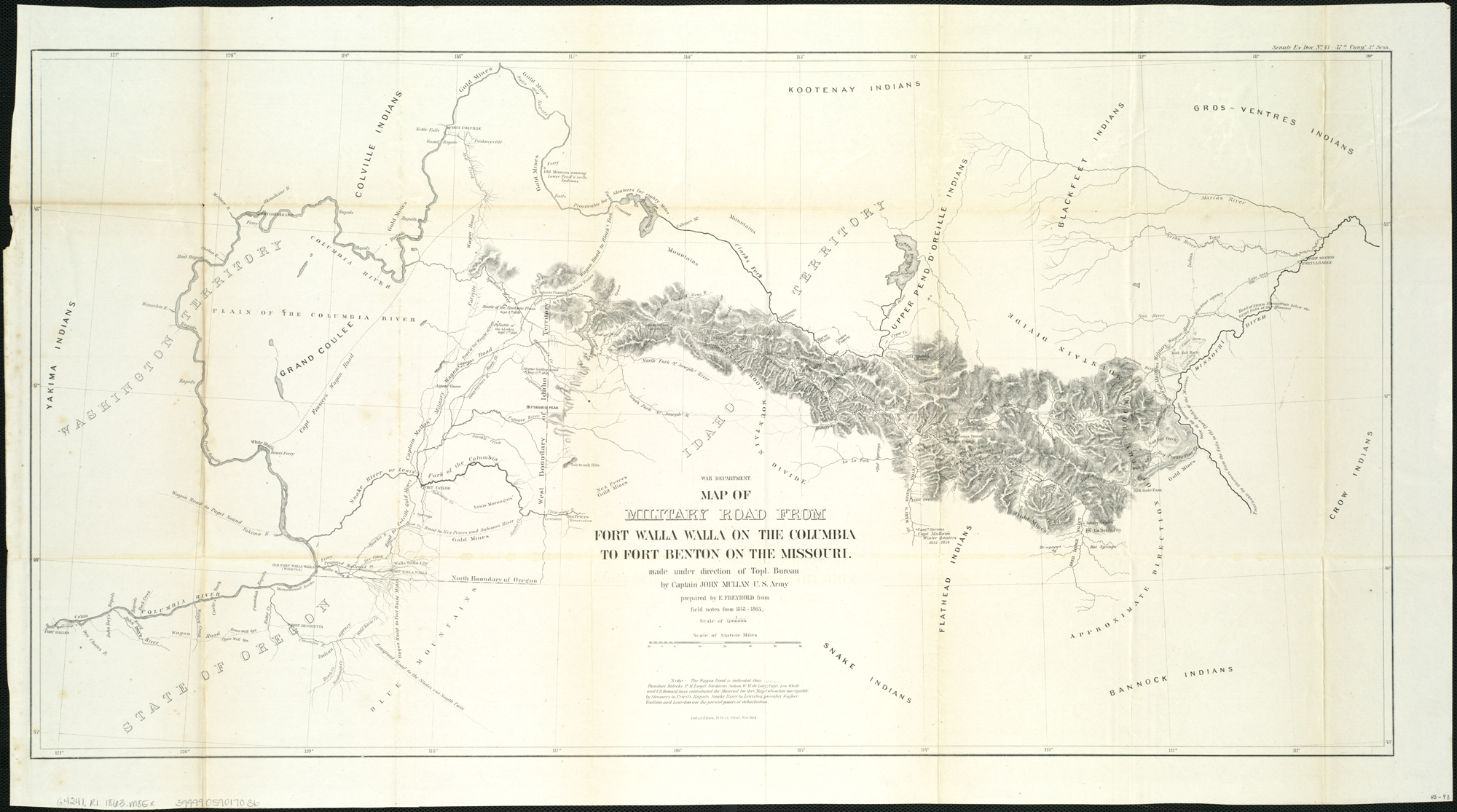 File Map of military road from Fort Walla Walla on the Columbia to