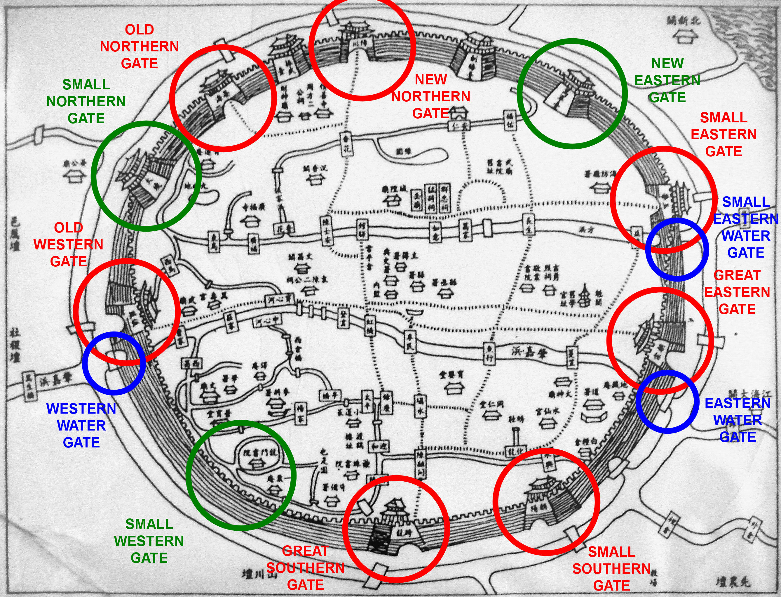 File Map of the Old City of Shanghai with first 6 gates and 3 water